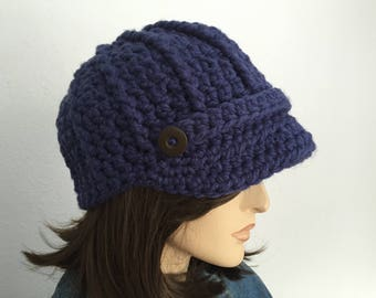 Women Chunky Crochet Hat with Visor Women Winter Hat Women Newsboy Hat with Buttons Teen Hat