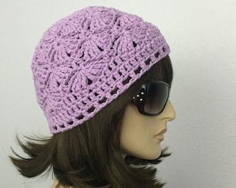 Womens Summer Crochet Hat Womens Summer Beanie in Lavender Women Spring Hat Summer Fashion
