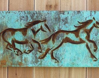 Turquoise patina and rust horse painting
