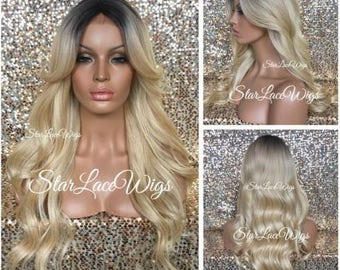 Long Curly Blonde Wig - Dark Roots - Bangs - Middle Part - Heat Resistant Safe