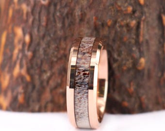 Rose Tungsten & Antler 8mm Band With Antler Inlay Mens 8mm Wedding Band Antler Rings  Man Wedding Band Rings By Pristine