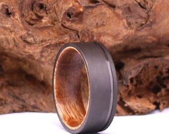 koa wood sand blasted gun metal grey mens band 8mm with pipping mens 8mm wedding band - Koa Wood Wedding Rings