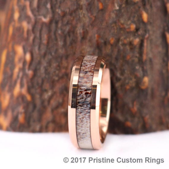 Rose Tungsten Antler 6MM Or 8MM Band With Inlay Mens