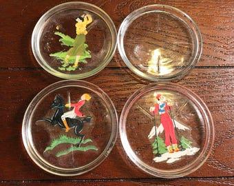 Set of 4 Vintage 1960s Glass Coasters