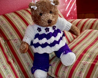 Teddy Bear Wearing Crochet Purple and White Outfit