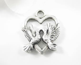 6Pc Antique Silver Heart and Dove Charms 15 x 19 mm Jewelry Charms