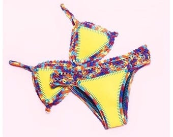 Beautiful handmade crochet bikini, yellow colour