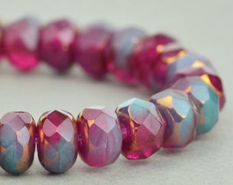 Czech glass Rondelle (5x3mm) Fuchsia Transparent and Turquoise Opaque Mix with Bronze Finish , (25 beads), UK beads