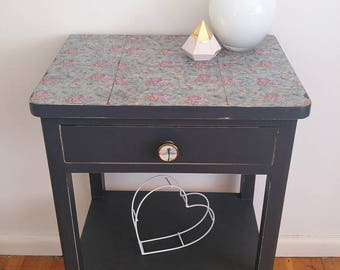 Bedside table, side table, occasional table, charcoal, grey, decoupage, upcycled, vintage