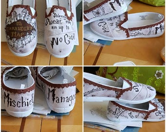 Marauder's Map Harry Potter Inspired Hand-Painted Shoes