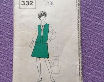 1960 Blouse, Skirt and Jerkin. Vintage pattern. Bust size 34""