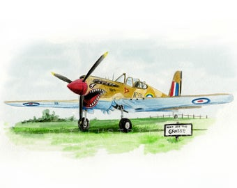 Kittyhawk fighter plane print