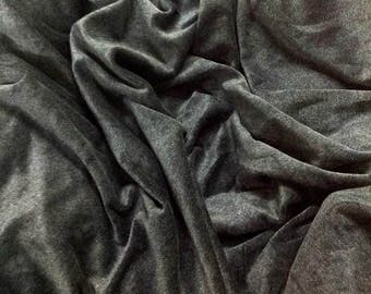 Charcoal Grey Cotton Velvet Fabric, Anthracite Grey Velvet Fabric By The Yard