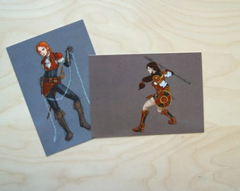 Postcards of badass women: privateer and Gladiator.