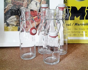 Set of 4 20 cl glass bottles. France