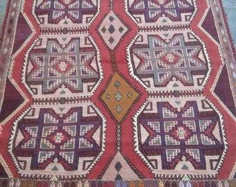 Turkish  Oushak Rug, Vintage Kilim Rug,Home Living, Anatolian Cicim Kilim, Handmade , 4'5''x5'4'' ft, Star Model Kilim,Pastel Colors,