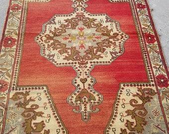 """Oushak Rug,Vintage Turkish Carpet,Home living, Area rug, Turkish Oushak Rug,4'6""""×7'4""""feet,Vintage Rug,Fashion Rug,Floor rug"""