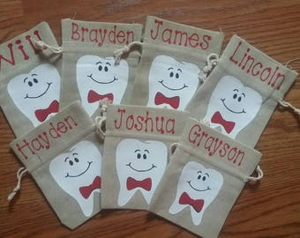 Boys Personalized Tooth Fairy Bag