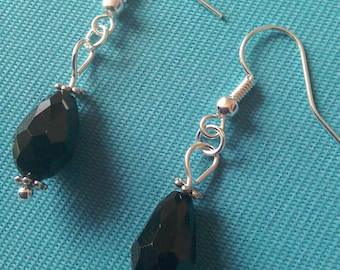 Black faceted glass crystal teardrop silver plated earrings