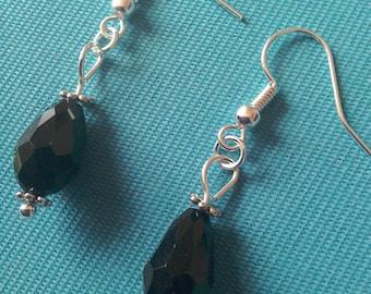 Black faceted glass crystal teardrop silver plated earrings