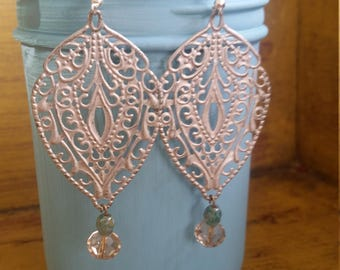 Silver hand painted filigree earrings