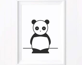 Ping Monochrome Panda. Monochrome Print. Monochrome Art. Panda Print. Monochrome Nursery. Black and White Decor. Nursery Decor. Baby Gift.