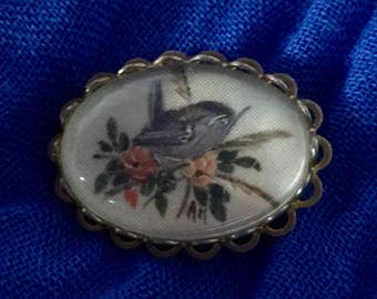 Wren painted brooch