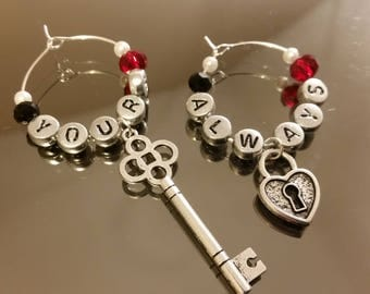 """Anniversary Gift Wine Glass Charm Couples Giftset Red & Black """"Key to my Heart"""" Set of 2 Romantic """" Yours Always"""" anniversary, wedding,"""