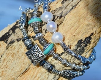 Glass and Pearl Bracelet