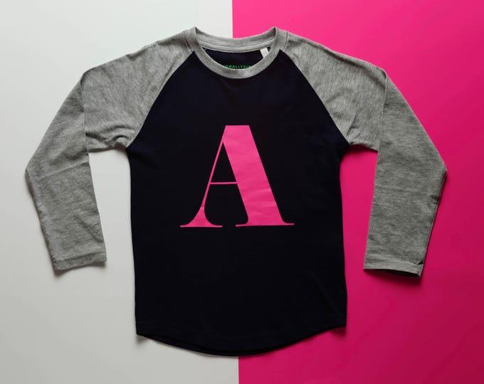 Featured listing image: Alpha T - Kids long sleeve baseball alphabet T-shirt