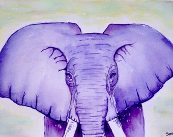 Elephant watercolor, a splendor of nature / / handmade canvas / / local Art