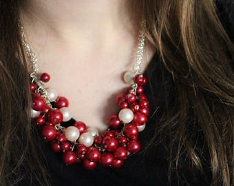 Red Pearl Chunk Necklace
