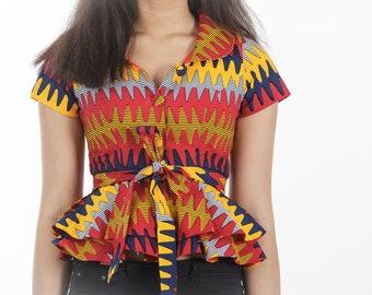 Chic Lady blouse fabric print-wax