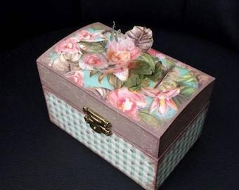 "Romantic hand made wooden jewel box ""Flower"" * decoupage unique"