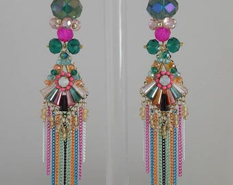 Chandelier Multi Color Earrings With Chains