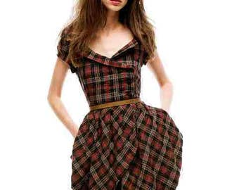 UK size 12  14 Steampunk Check Tartan Victorian War Bride Style Wrap Retro dress