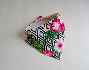 Floral - Geometric - Reversible - Bandana Bib - Girls - Set of 2