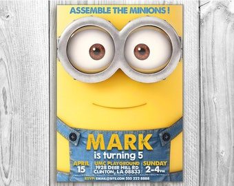 Minions invitation, 5x7 / 4x6 Despicable Me Invitation, Minion Card Printable, Minions Birthday Party, Minions Printable.