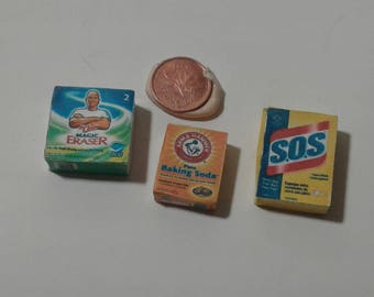 Dollhouse Miniatures Cleaning Products   Mr Clean Magic Eraser, Arm and Hammer Baking Soda, SOS Scrubbing Pads 1:12 Scale