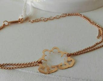 Double strand bracelet in silver bullet and Crown embedded with rose.