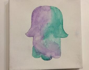 Hamsa   watercolor on 6x6 canvas