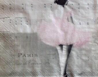 Decoupage Napkins, Paper Napkins x4 Scrapbooking Craft Ballerina Vintage Pink Music Notes Music Sheet 134