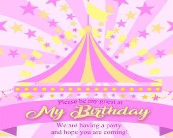 Pink Birthday Invitation Carnival Theme