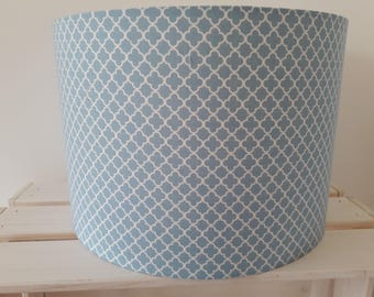 Slate Blue Moroccan Quatrefoil Lattice Lampshade