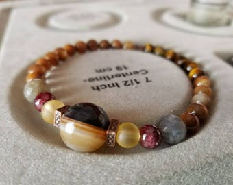 Jasper and Tiger's Eye Bracelet with Garnet and Labradorite Accents