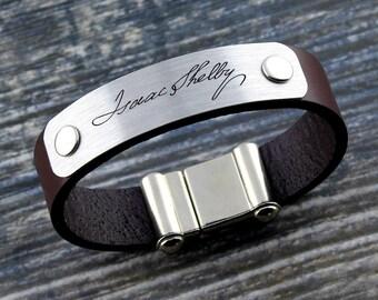 Memorial Signature Bracelet, Personalized Actual Handwriting Bracelet, Leather Keepsake Bracelet, Sentimental Gift, Memorial Gift, Gift Idea