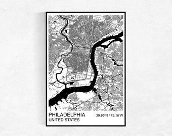 Philadelphia City Map Poster, Street Map, Custom Map Print, Map, Large Poster, Wedding, Graduation, Philadelphia Map, Wall Art