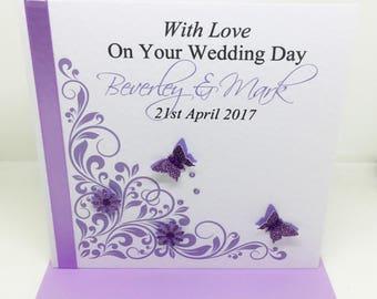 Beautiful Handmade Personalised Lilac and Purple Wedding Day Card