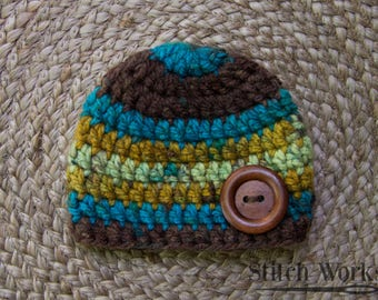 Crocheted Baby Beanie - Baby Boy - Newborn - Multi-colored - Wood Button