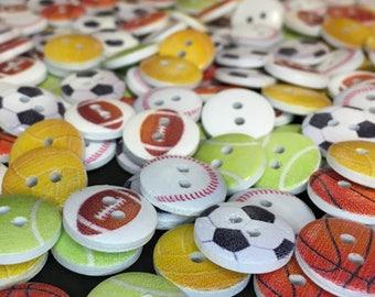 Sports Ball Buttons 15mm Wooden Football Soccer Basketball Baseball Netball Tennis Game Team Super Bowl World Cup Wimbledon Boys Fathers Day